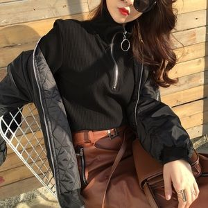 Tops - Black Turtleneck with Ring Zipper Details